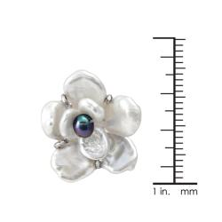 Sterling Silver White Keshi and Black Freshwater Pearl Flower Earrings (6-10 mm)