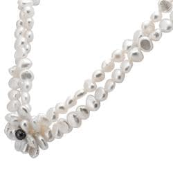 Sterling Silver White Keshi and Black FW Pearl Flower Necklace (6-10 mm) - Thumbnail 1