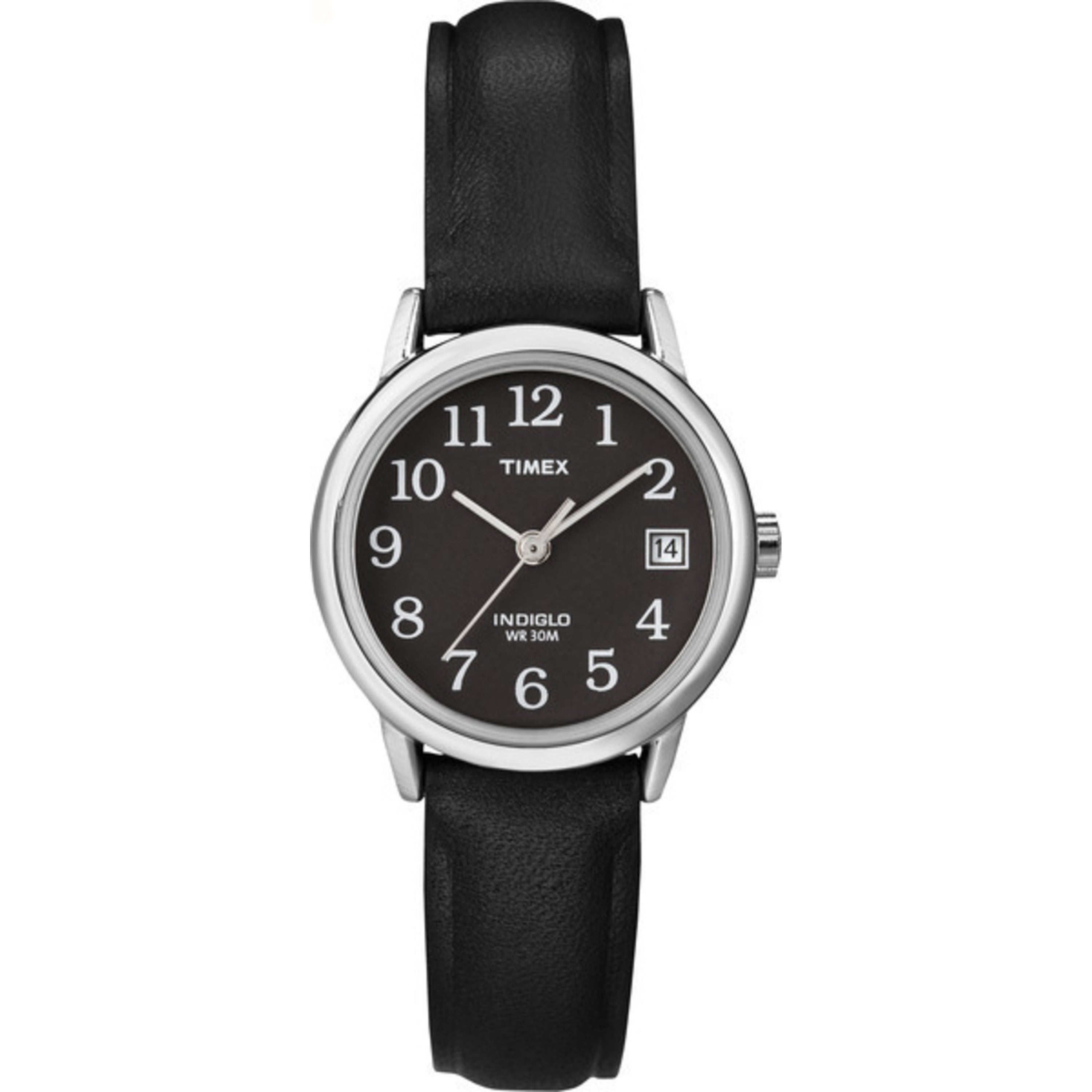 Timex Women's T2N525 Easy Reader Black Leather Strap Watc...