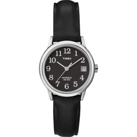 Timex Women's T2N525 Easy Reader 25mm Black Leather Strap Watch