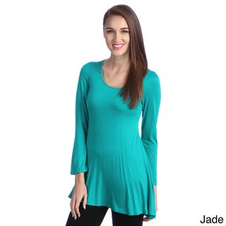 24/7 Comfort Women's Long Sleeve Crew Neck Tunic Top