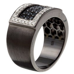 Victoria Kay Black Silver Men's 7/8ct TDW Black and White Diamond Band (J, I2-I3) - Thumbnail 1