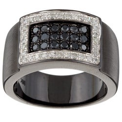 Victoria Kay Black Silver Men's 7/8ct TDW Black and White Diamond Band (J, I2-I3)