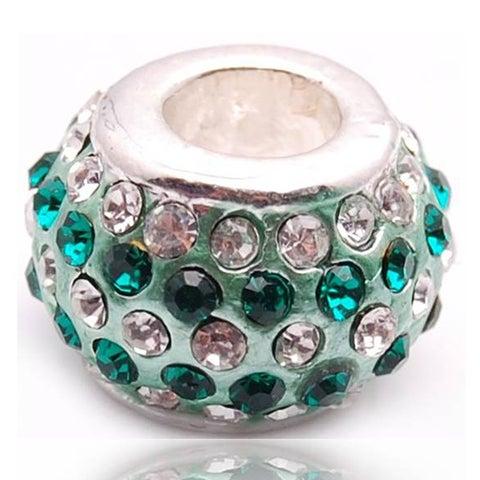 Crystal Rhinestone Green and Clear Charm Bead
