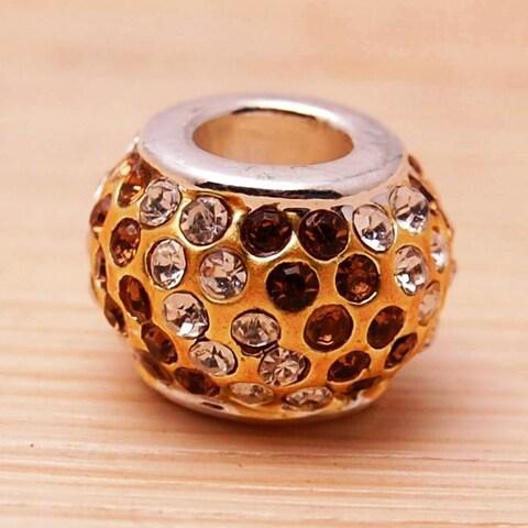 Crystal Rhinestone Beige and Clear Charm Bead
