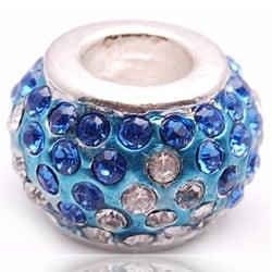 Crystal Rhinestone Blue and Clear Charm Bead