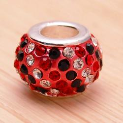Red and Black Crystal Rhinestone Charm Bead