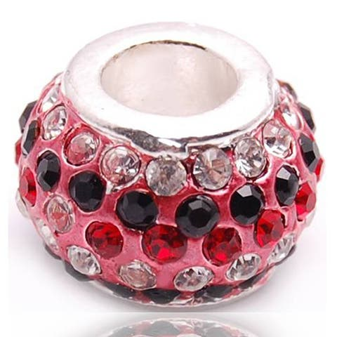 Red and Clear Crystal Rhinestone Charm Bead