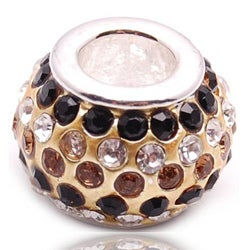 Crystal Rhinestone Gold and Black Charm Bead