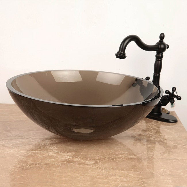 Round Amber Bronze Tempered Glass Bathroom Vessel Sink - Thumbnail 0