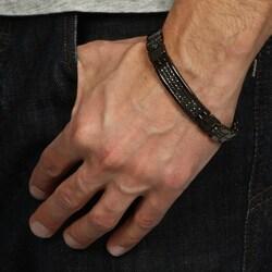Victoria Kay Black Silver Men's 1 1/2ct TDW Black Diamond Bracelet - Thumbnail 2