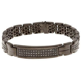 Victoria Kay Black Silver Men's 1 1/2ct TDW Black Diamond Bracelet