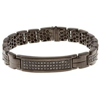 Victoria Kay Black Silver Men's 1 1/2ct TDW Black Diamond Bracelet
