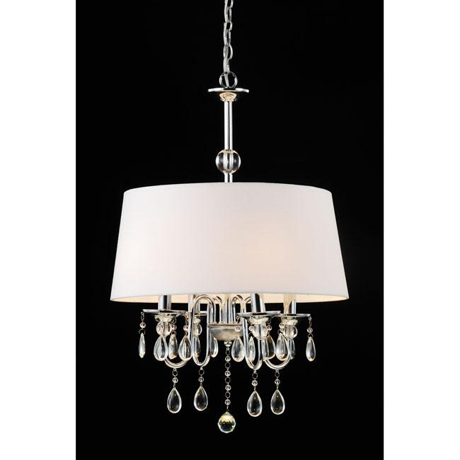 Indoor 4-light Off-White Fabric Shade Chrome Chandelier - Thumbnail 0