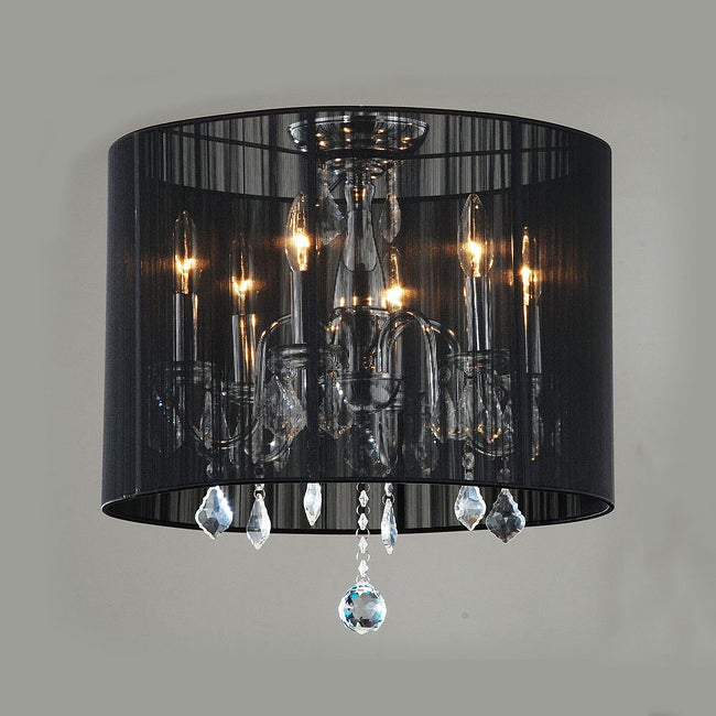 Indoor 6-light Black Shade Chrome Flushmount Chandelier