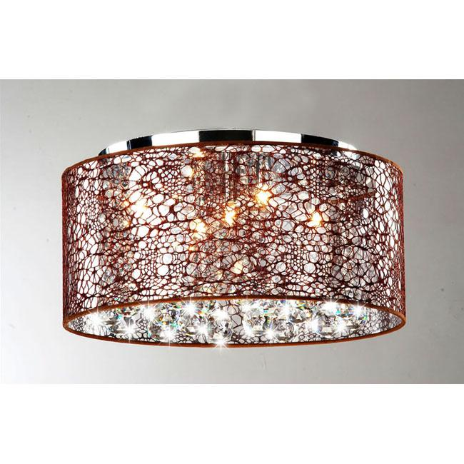 Indoor 5-light Brown and Chrome Flushmount Chandelier