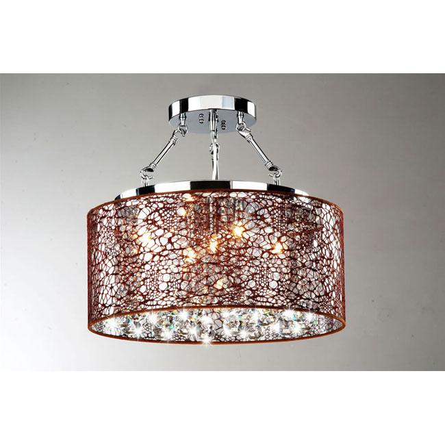 Indoor 5-light Brown and Chrome Semi Flushmount Chandelier - Thumbnail 0