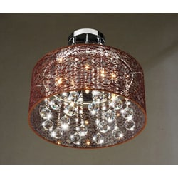 Indoor 5-light Brown and Chrome Semi Flushmount Chandelier - Thumbnail 1
