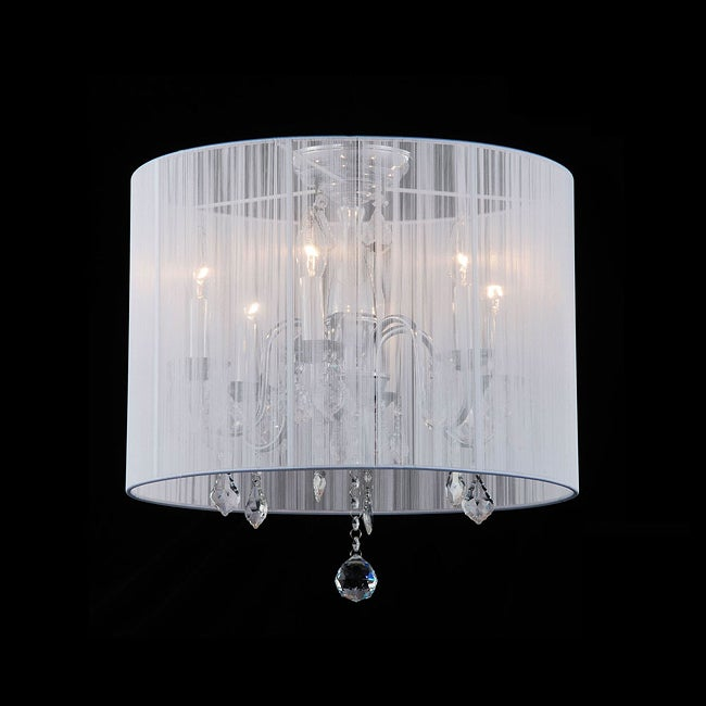 Indoor 6-light White Shade Chrome Flushmount Chandelier - Thumbnail 0