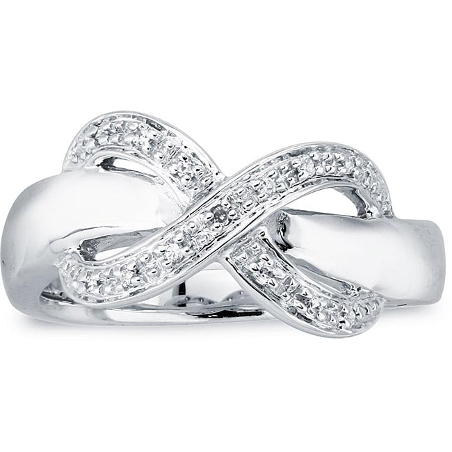 Sterling Silver Diamond Accent Infinity Design Ring (Size 7)