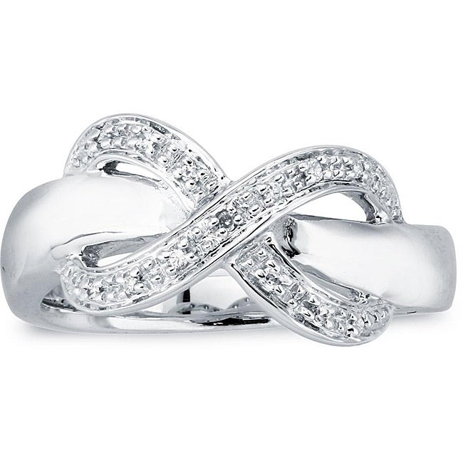 Sterling Silver Diamond Accent Infinity Design Ring  By Ever One (Size 7) - Thumbnail 0