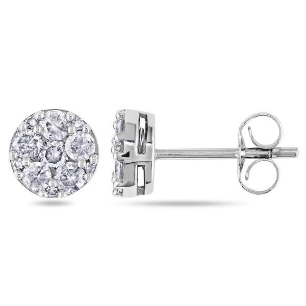 Miadora 10k White Gold 1/2ct TDW Diamond Stud Earrings (G-H, I1-I2)