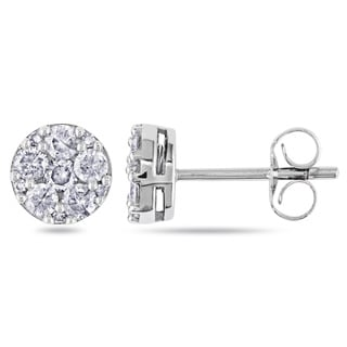 Miadora 10k White Gold 1/2ct TDW Diamond Stud Earrings (G-H, I1-I2)
