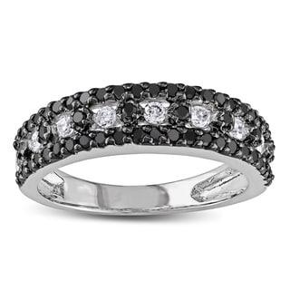 Miadora 10k White Gold 3/4ct TDW Black and White Diamond Ring
