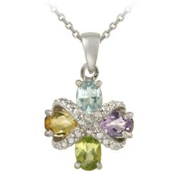 Glitzy Rocks Sterling Silver Multi-gemstone and Diamond Cross Infinity Necklace