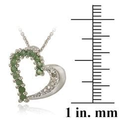 Glitzy Rocks Sterling Silver Emerald and Diamond Accent Heart Necklace - Thumbnail 2