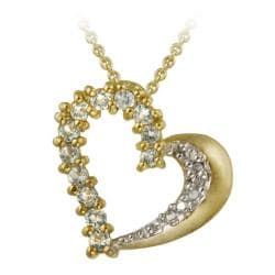 Glitzy Rocks 18k Gold over Silver Blue Topaz and Diamond Heart Necklace