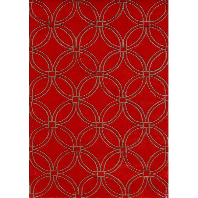 Alliyah Handmade Red CirclesNew Zealand Blend Wool Rug