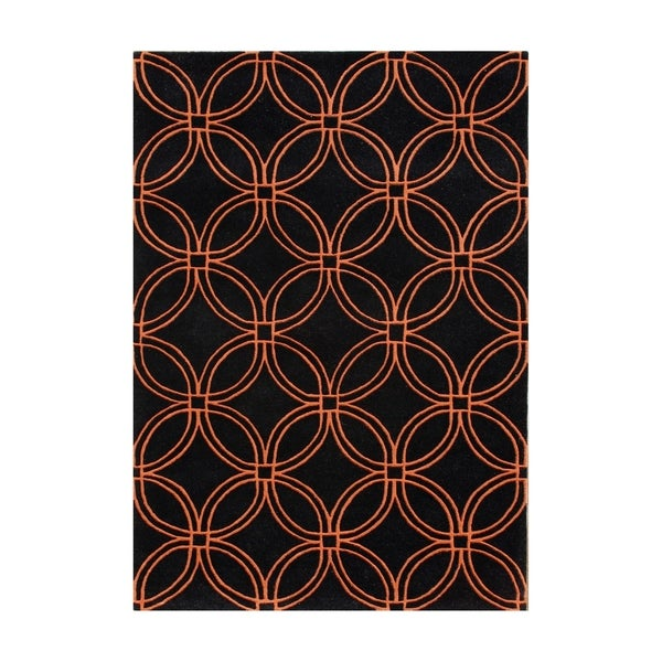 Alliyah Handmade Black and Tigerlily Intersecting Circles New Zealand Blend Wool Rug - 8' x 10'