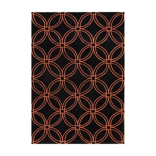 Alliyah Handmade Black and Tigerlily Intersecting Circles New Zealand Blend Wool Rug