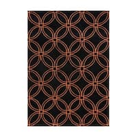 Alliyah Handmade Black and Tigerlily Intersecting Circles New Zealand Blend Wool Rug - 8' x 10'