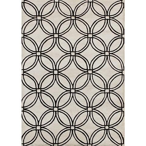 Alliyah Handmade Off-white Cream New Zealand Blend Wool Rug (8' x 10') - 8' x 10'