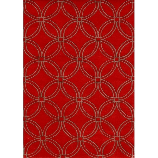 Alliyah Handmade Red CirclesNew Zealand Blend Wool Rug - 8' x 10'