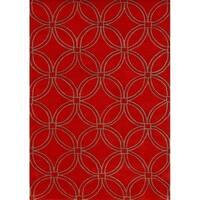 Alliyah Handmade Red CirclesNew Zealand Blend Wool Rug - 8' x 10'