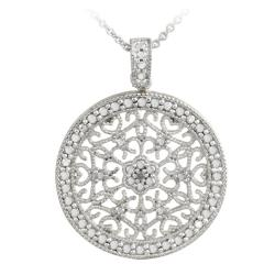 DB Designs Sterling Silver Diamond Accent Filigree Medallion Necklace