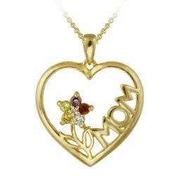 Glitzy Rocks 18k Gold over Silver Multi-gemstone and Diamond Necklace