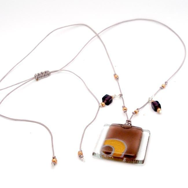 Ethereal Stacked Glass Square Necklace (Chile)