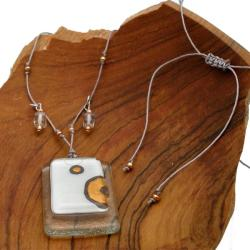 Ethereal Stacked Glass Rectangle Necklace (Chile) - Thumbnail 1