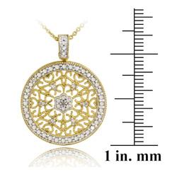 DB Designs 18k Gold over Silver Diamond Accent Filigree Medallion Necklace - Thumbnail 2