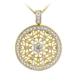 DB Designs 18k Gold over Silver Diamond Accent Filigree Medallion Necklace