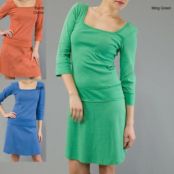AtoZ Women's Cotton Drop Waist 3/4-sleeve Dress