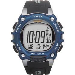 Timex T5E2419J Men's Ironman Traditional 100-lap Black/ Silvertone/ Blue Watch