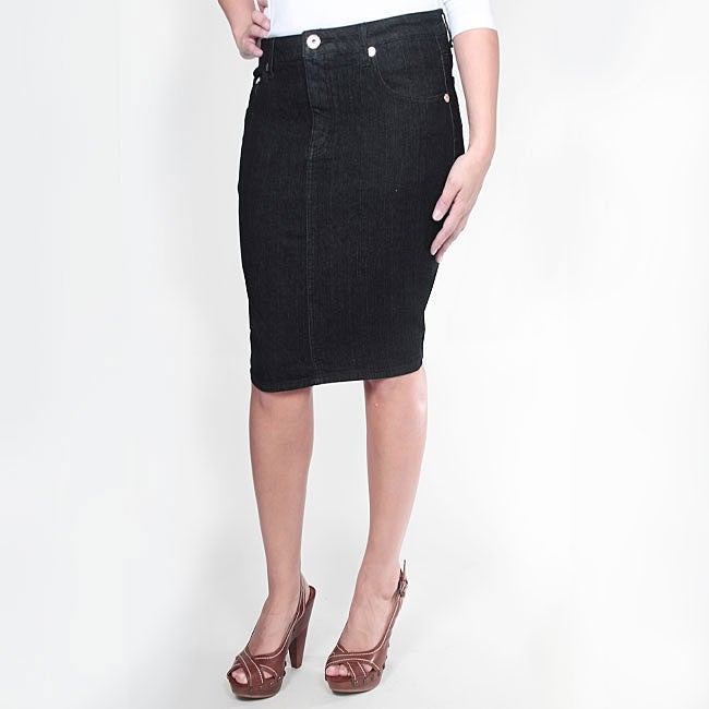 Tabeez Women's Black Denim Pencil Skirt