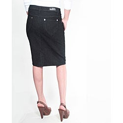 Tabeez Women's Black Denim Pencil Skirt - Thumbnail 1