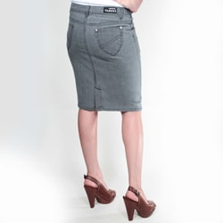 Tabeez Women's Grey Denim Pencil Skirt - Thumbnail 1