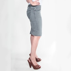 Tabeez Women's Grey Denim Pencil Skirt - Thumbnail 2